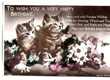 R35. Vintage Greetings Postcard. Kittens and Flowers.
