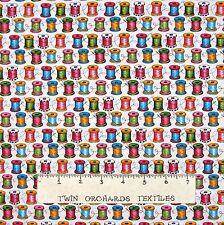 Sewing Fabric - Cute As A Button Thread Spools White - Henry Glass YARD