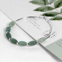 Damen Armband Natürliche Grün Jade Stein Silber 925 Armreif 15+2 cm Geschenk Neu