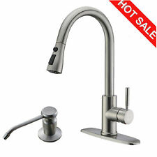 Brushed Nickel Kitchen Sink Faucet Pull Out Sprayer 10-inch Cover Soap Dispenser