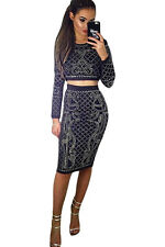 Abito gonna top strass Borchie aderente Ballo Party Studded Skirt Set Dress S