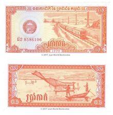 Cambogia 0.50 1/2 RIEL 1979 P-27 BANCONOTE UNC