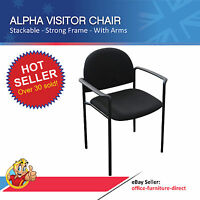 Visitor Client Office Chair Alpha Arms Stackable Padded Black Meeting Waiting