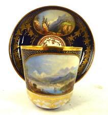 Antique john Lockett staffordshire ceramic cup & saucer écossais nommé scènes f