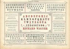 Stampa antica ALFABETI NUMERI Verzierte ANTIQUA 1898 Old Print Alphabet Writing