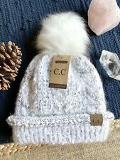 New CC Winter White Gray Ivory Knit Hat Cap Beanie w/ Lining--Stocking Stuffer