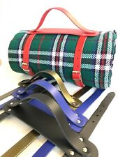 Real Leather Picnic Blanket Rug, Yoga Mat Carrier Strap Handle Made in England