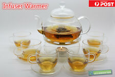 Glass Teapot Tea Set Round-Shaped Infuser Warmer+6 Handle Cups+6 Saucer+Candles