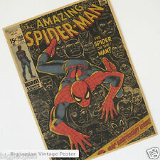 Spider-Man Classics Cartoon Role Brown Paper Old Retro Decorate Poster