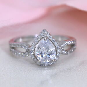 Pear Shaped Diamond Sterling Silver Engagement Ring Teardrop Promise Ring USA