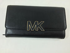 New Michael Kors MK Florence Large Billfold Carryall Leather Wallet Black