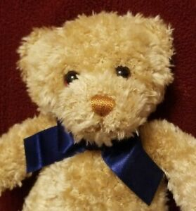 VINTAGE GUND BRAUN THERMO SCAN ADVERTISEMENT CURLY BROWN BEAR & NAVY BLUE BOW