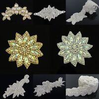 AB Rhinestone Applique Bridal Dress Sash Embellishment Sew Iron On Trims Crafts