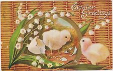 """Rare Posted Divided Back Embossed Easter Chicks Postcard """"Easter Greetings"""" Nice"""