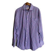 Peter Millar Mens Multi Color Plaid Checks L/S Button-Down Shirt XL Cotton EUC