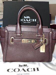 Coach Mini Leather Crossbody Handbag-Oxblood Color