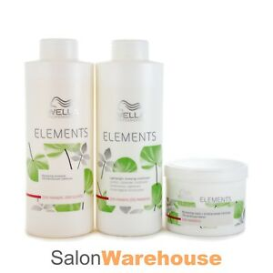 WELLA Elements Lightweight Renewing Shampoo Conditioner 1000ml And Mask 500ml
