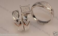 His Her Mens and Woman Diamonds Wedding Ring Bands Trio Bridal Set Silver 925