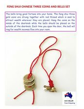 Chinese Feng Shui Three Coins And Bells Set Attract Wealth Prosperity Good Luck
