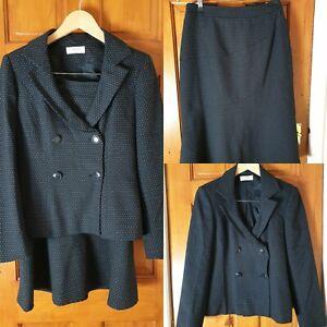 kaliko Size 8 Smart Work Office Black and White Skirt Jacket Suit
