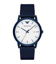 Reloj para Hombres Caballeros Emporio Armani Azul Correa de Acero Inoxidable Esfera Blanca AR11025