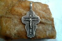 "VINTAGE LARGE STERLING SILVER IMPERIAL RUSSIAN-STYLE ORTHODOX ""SKULL"" CRUCIFIX"