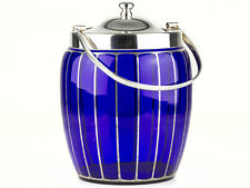 c1900 Bristol Blue Glass & Silver Plated Biscuit Barrel
