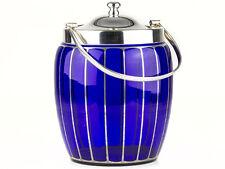 c1900 Bristol Blue Glass & Silver Plated Biscuit Barrel