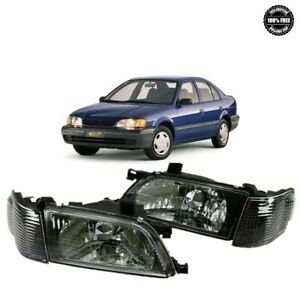 Fits 1995 1999 For Toyota Tercel Black Headlights Headlamps with Corners Set