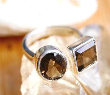 Eleganter Silbering Gr. 56 57 - 60 Offen Silber Ring Rauchquarz Handarbeit Braun