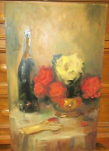 ALICE PURYEAR ROSES WINE AND GLOVES ORIGINAL ACRYLIC ON BOARD PAINTING 1963