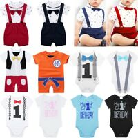 Baby Girl Boy 1st First Birthday Bowtie Romper Party Bodysuit Clothes Outfit Set