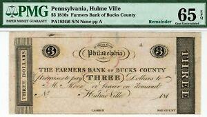$3 Farmers Bank Bucks County Hulme Vill Pennsylvania PMG 65 EPQ GEM Uncirculated
