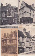 Lot 4 cartes postales anciennes COMPIEGNE vieilles maisons