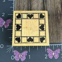 Imagine That Heart Checkered Pattern Square Frame Rubber Stamp #V149