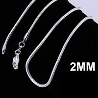 fashion women men 925Sterling silver plated 2MM snake chain necklace for pendant