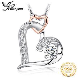 925 Silber Damen Halskette Kreuz Zirkon Frauen Anhänger Schmuck Kette Jesus Herz