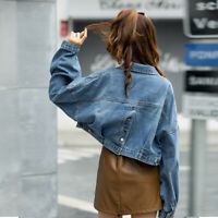 Womens Acid Washed  Denim Jacket with Back Buttons Detailing Cropped Biker Coat