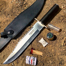 "DEFENDER 15"" Stainless Steel RAMBO Hunting Knife & Survival Kit w/ Sheath SHARP!"