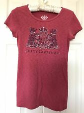JUICY COUTURE Pink Vintage Regal Crest RHINESTONE GRAPHIC TEE T-SHIRT Top P/XS