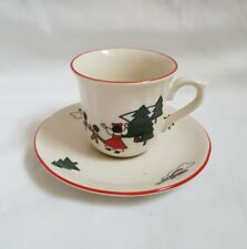 ❀ڿڰۣ❀ MASONS Stoneware CHRISTMAS VILLAGE DESIGN Coffee CUP & SAUCER ❀ڿڰۣ❀
