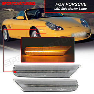 LED Side Marker Signal Light Clear For 98-04 Porsche Boxster 986 Carrera 911 996