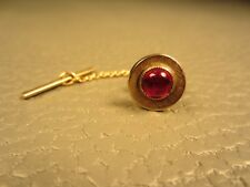 Vintage Round Red Glass Yellow Gold Plated Tie Tac or Lapel Pin