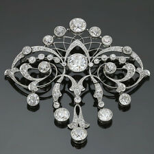 Magnificent 1930s Art Deco Diamond Platinum Filigree Brooch