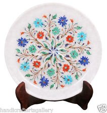 "9"" White Marble Serving Plate Turquoise Marquetry Floral Inlay Home Decors H2277"