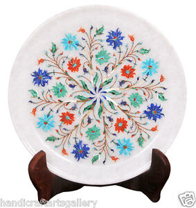"""9"""" White Marble Serving Plate Turquoise Marquetry Floral Inlay Home Decors H2277"""