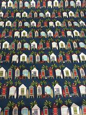 Off Shore C4921 Riley Blake Beach Huts Fabric FQ or More Blue 100% Cotton Craft