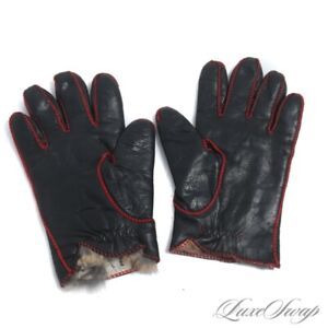 Vintage Mark Paulson Patti Horn USA Black Leather Red Trim Fur Lined Gloves M 7
