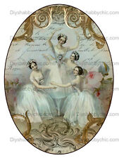 Furniture Decal Vintage Image Transfer Oval Ballet Dance Upcycle Shabby Chic DIY