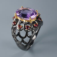 Natural Amethyst 925 Sterling Silver Ring Size 8.5/RR17-1901